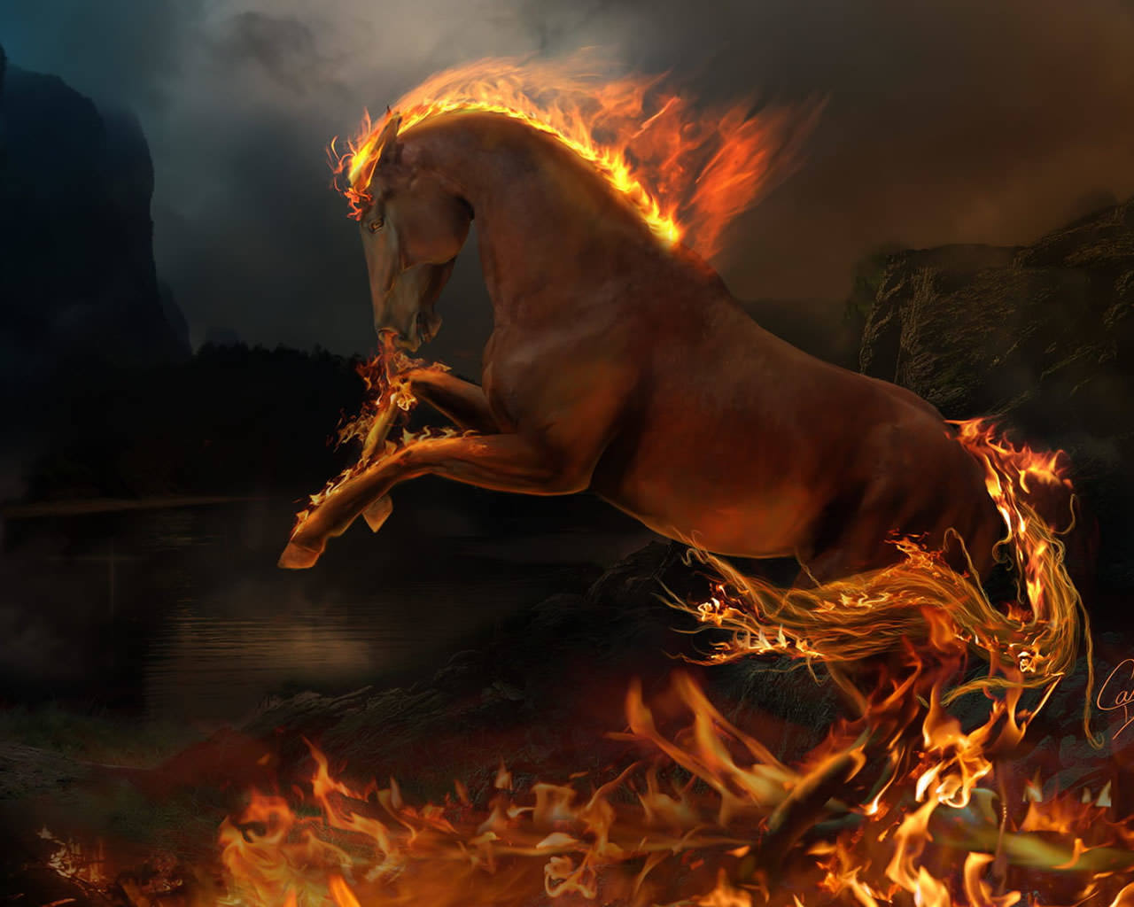 3D Burning Horse Wallpaper 1280x1024
