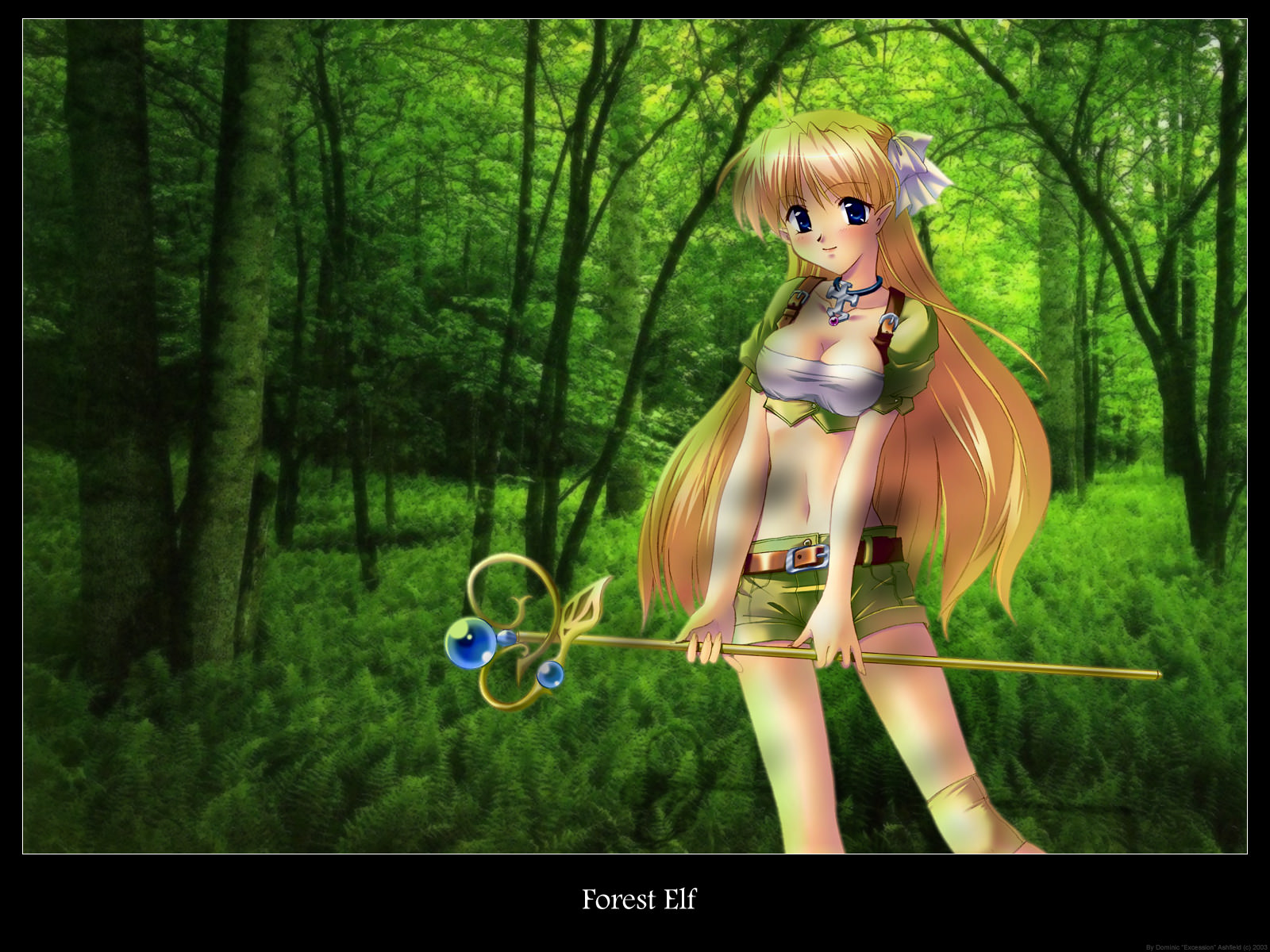 Anime elf girl in forest naked pic