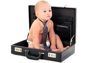 Baby in Briefcase Wallpaper