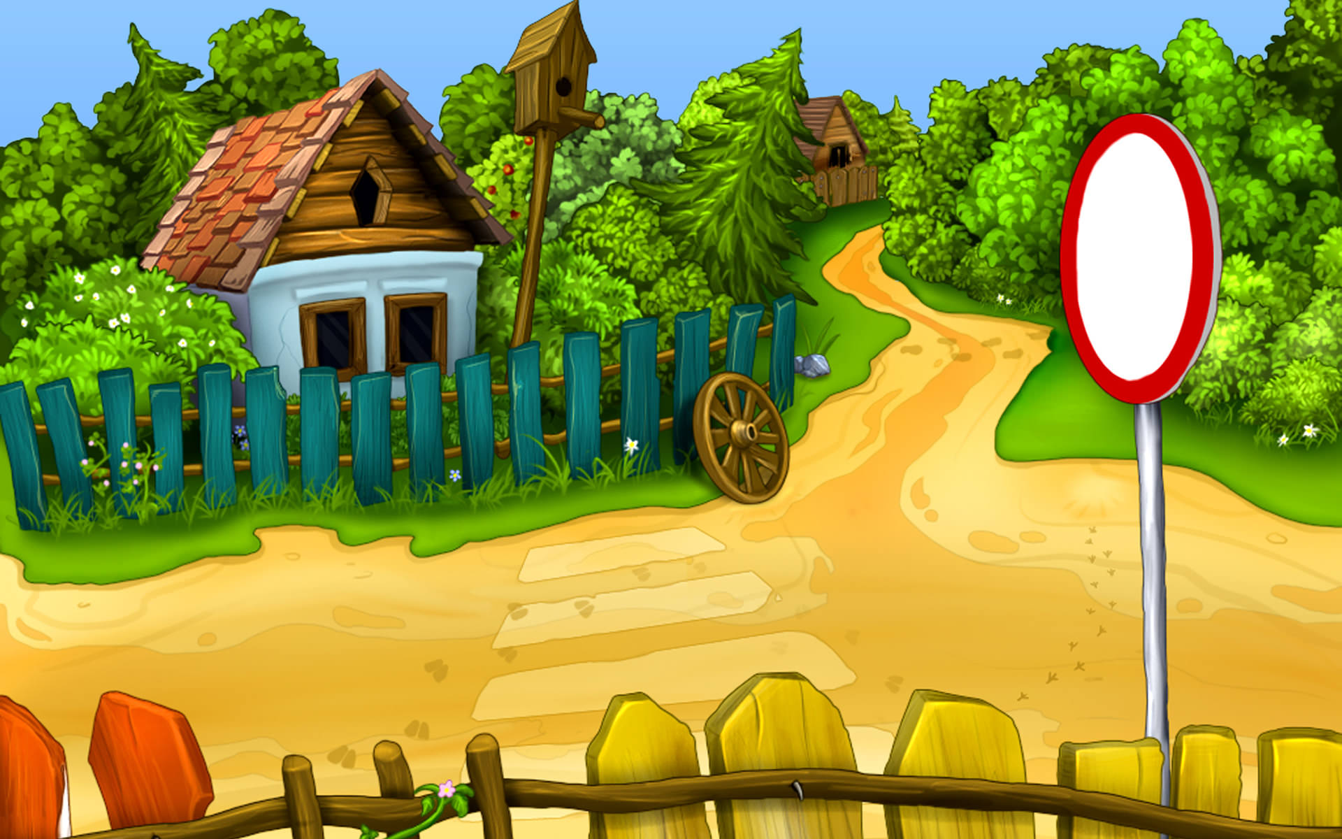 Sunny day in a small village wallpaper 487922 for Wallpaper home cartoon